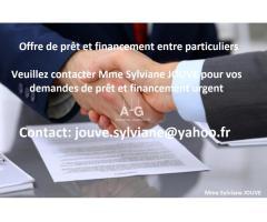 Offre de prêt et financement entre particuliers en France // jouve.sylviane@yahoo.fr