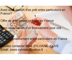 Prêt Simple Et Fiable Entre Particuliers // jouve.sylviane@yahoo.fr
