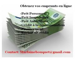 Offre de prêts entre Particuliers/marlainebouquet@gmail.com