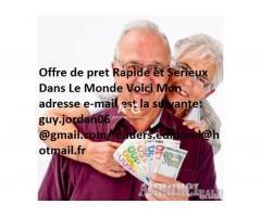 Offre de Prêt urgent entre particulier en France Réunion Guadeloupe Guyane Martinique Mayotte