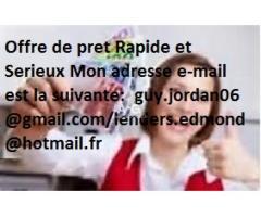 Offre de prêt entre particuliers - petite annonce France  -guy.jordan06@gmail.com