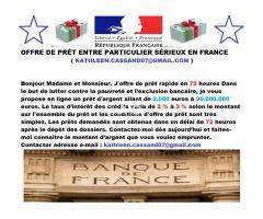 Offre de prêt - crédit en France   kathleen.cassand07@gmail.com